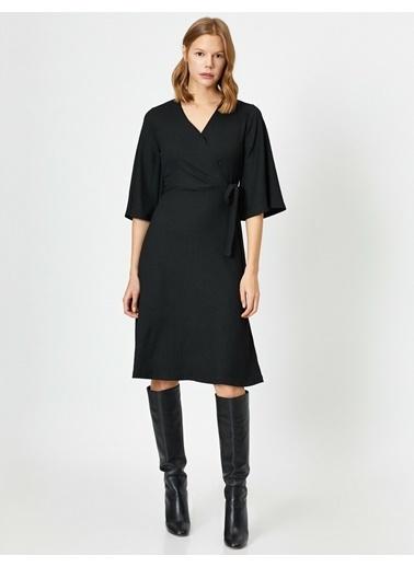Koton Beli Baglamali Elbise Siyah